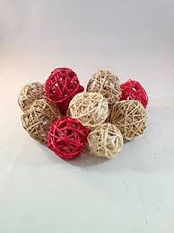 Decorative Vase Filler Balls Amazon Decorative Spheres Orbs Red Tan And Cream Rattan Ball 56
