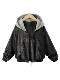 black leather jacket women hooded long sleeve patchwork wind proof jacket no 1