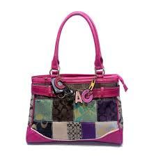 Coach Holiday In Monogram Large Fuchsia Satchels DJW