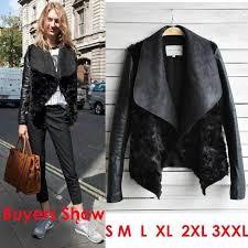 2016 celebrity women leather sleeve fur coat fashion big lapel slim short leather jacket plus size