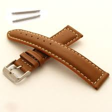 mens leather watch strap padded with white stitching buckle and spring bars 22mm tan