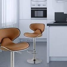 contemporary bar stools. 2 Swivel Elegant PU Leather Modern Adjustable Hydraulic Bar Stool Adeco, Caramel Light Brown Latte Contemporary Stools