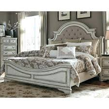 King Size Bedroom Furniture Antique White Traditional Upholstered ...