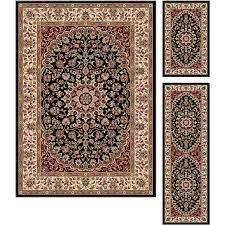 elg5393 set3 3 piece set black red and gold area rug elegance