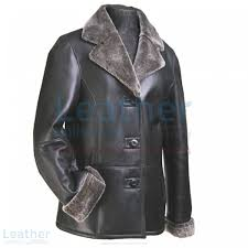 fur leather blazer womens front view