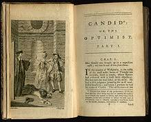 voltaire  frontispiece and first page of an early english translation by t smollett et al of voltaire s candide 1762
