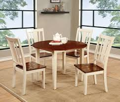 cm3326wc rt 5pc 5 pc dover ii antique white and cherry finish wood 42 round dining table set with drop leaf