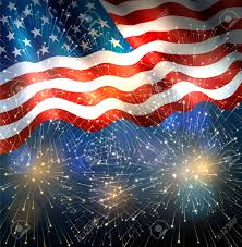 Patriotic Background With American Flag And Fireworks Background