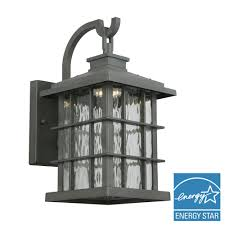 summit ridge collection zinc outdoor integrated led dusk to dawn medium wall lantern