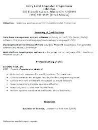Resume Templates For Entry Level Programmer Resume Template Entry Level Programmer Resume Entry Level