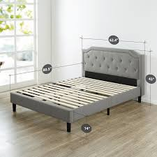 upholstered scalloped button tufted platform bed  zinus