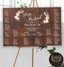 Printable Rustic Wood Floral Wedding Seating Chart Wood