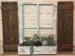 Old Window Frame Decor Old Window Frame Shutters Succulents Vintage Window Farmhouse