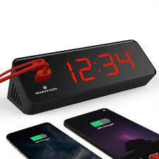 <b>LED Alarm Clock</b> with Two USB Ports – Marathon <b>Watch</b>