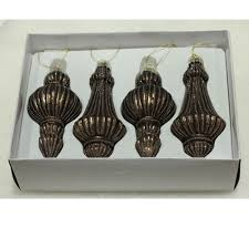 Textiles Flair Christbaumschmuck Ornamente 4er Set Braun