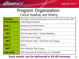 kaplan advantage sat critical reading and writing ppt program organization critical reading and writing