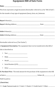 Free Forms Bill Of Sale Download Equipment Bill Of Sale Form For Free Formtemplate