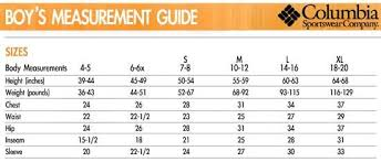 Columbia Size Chart Cabelas Sizing Charts Columbia Boys Columbia Boys Chart