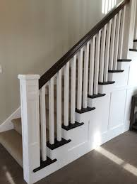 Custom Newel Post White Newel Post Charcoal Stained Handrail White Square