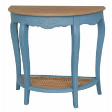 blue console table. Ashbury Stradivarius Natural Oak Veneer And Antique Blue Half-Moon Console Table
