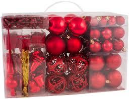 Brubaker 101 Teiliges Set Weihnachtskugeln Mit Baumspitze Christbaumschmuck Rot