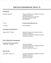 Pharmacist Resume Sample Canada Clinical Pharmacist Curriculum Vitae
