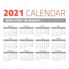 Simple 2021 Year Calendar Week Starts On Monday Royalty Free
