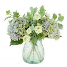 artificial hydrangea in ribbed vase pavilion flowers