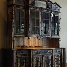 custom made adirondack rustic buffet hutch cabinet by l