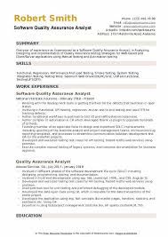 Quality Control Analyst Resumes Software Quality Assurance Analyst Resume Samples Qwikresume