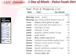 Weight Loss Menu Planner Template Paleo Diet Template