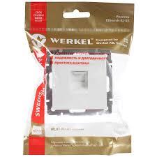 <b>Розетка</b> компьютерная встраиваемая <b>Werkel RJ45</b>, цвет белый в ...