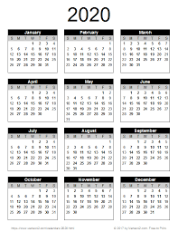 2020 Printable Calendar Yearly 2020 Calendar Templates And Images Printable Yearly