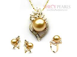 golden cultured south sea pearl jewelry set 11mm 12mm aa pjs0024 shecypearls jewelry set