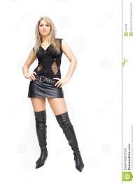pretty blond woman wearing leather