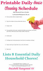 Daily Chores Checklist Daily House Cleaning Schedule 8 Essential Daily Household Chores