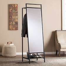 Coat Rack With Mirror Latitude Run Mirror And Hidden Coat Rack Reviews Wayfair 2