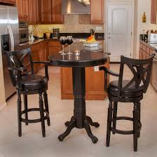 round black stained wooden pub table and chairs with leather pad back for kitchen room as well set bar bistro furniture counter height combined brown