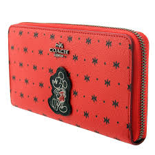 Coach Mickey Accordion Zip Wallet In Prairie Bandana Print Coated Canavas  Bright Red Black