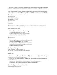 Quality Control Specialist Resume Resume For Your Job Application