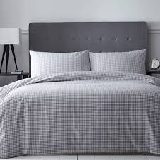 zoom the pure linen company grey cotton gingham check double duvet cover set
