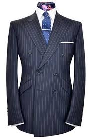 Navy blue city stripe two piece double breasted peak <b>lapel suit</b> ...