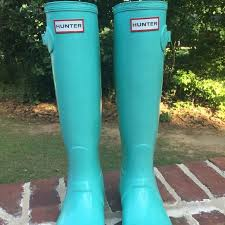 hunter boots size 6 hunter shoes rare tall rainboots tiffany blue mint 6 poshmark