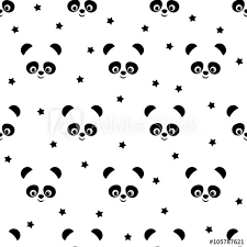 Panda With Stars Seamless Pattern On White Background Cute Vector