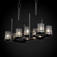 wire glass dakota 8 up and 3 downlight bridge chandelier finish brushed nickel shade