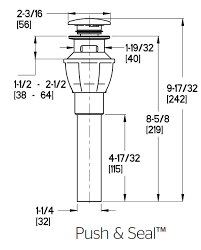 push and seal pop up drain assembly