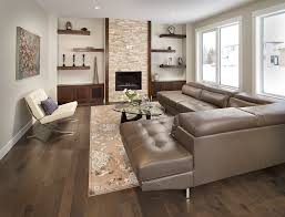 floating shelves for tv in living room contemporary with brown leather sectional beige patterned rug beige sectional living room