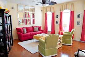 pink sofa and matching curtains