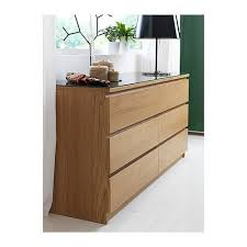 ikea malm chest of 6 drawers in oak vaneer with glass top