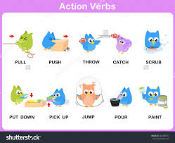 action verbs picture dictionary activity kids stock vector action verbs picture dictionary activity for kids